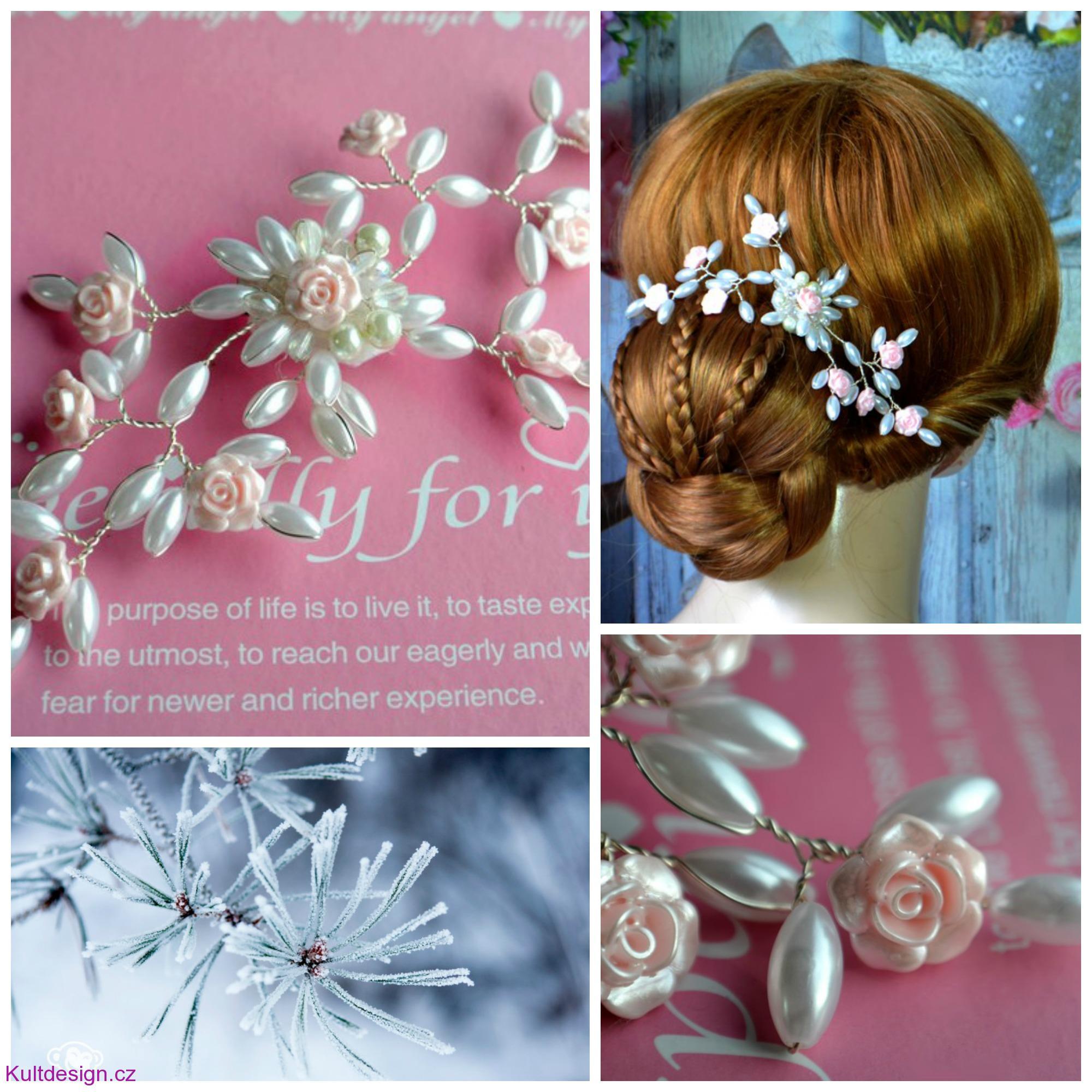 Svatební spona do vlasů růžová bdb794fc35