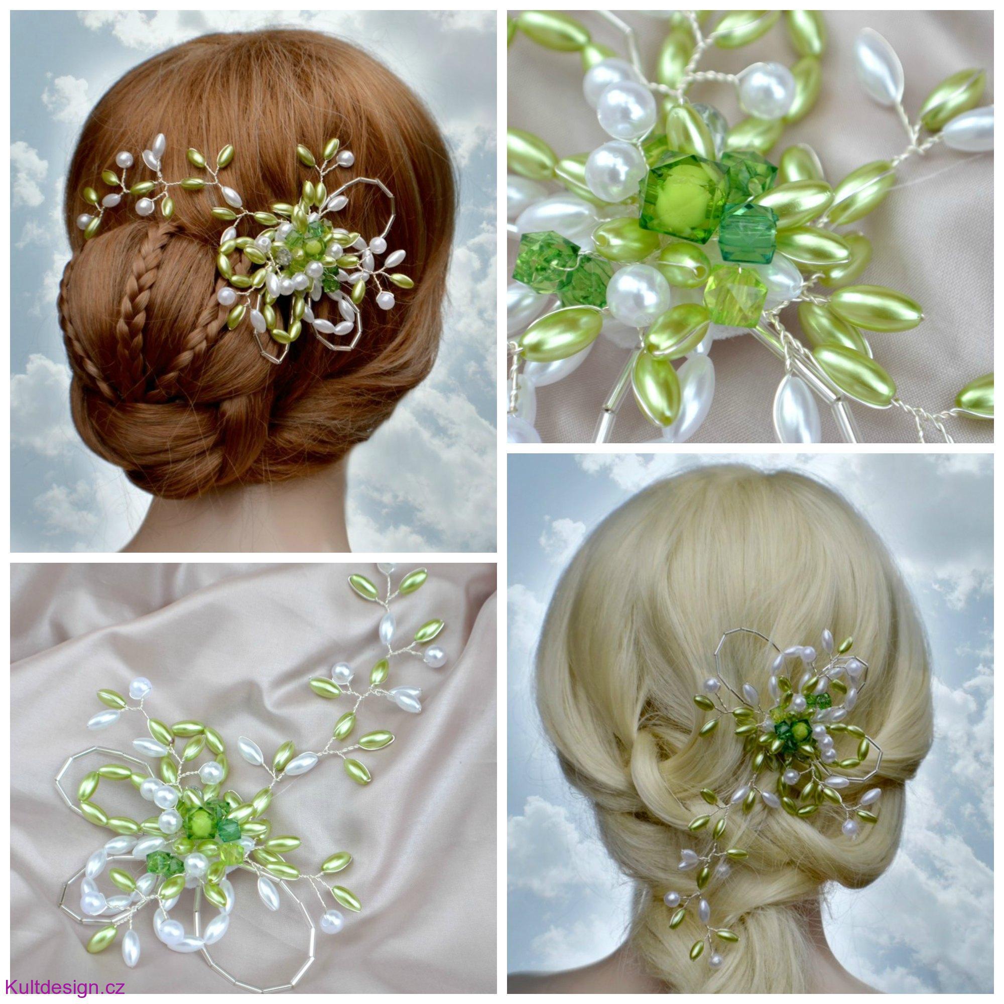 Svatební spona do vlasů zelená 404d74e0e2