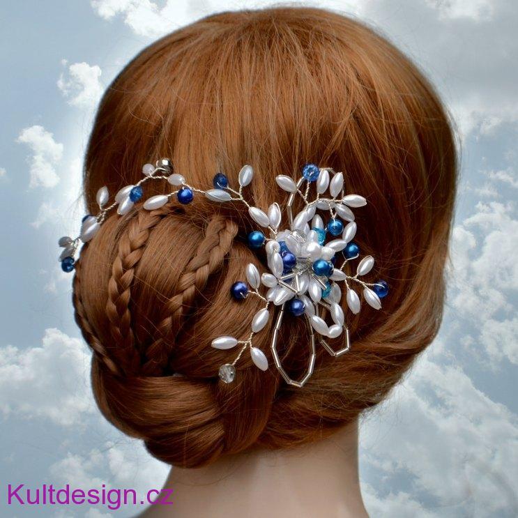 Svatební spona do vlasů modrá 3a6c69485b