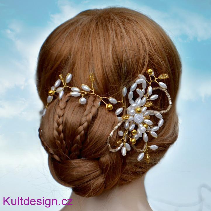 73678cc21a9 Svatební spona do vlasů bílá zlatá