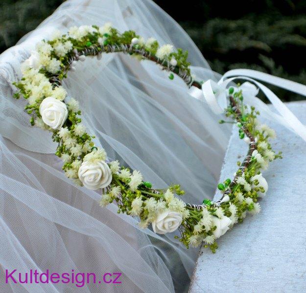 7a5a0280b57 Svatební věneček do vlasů nevěstin závoj ivory