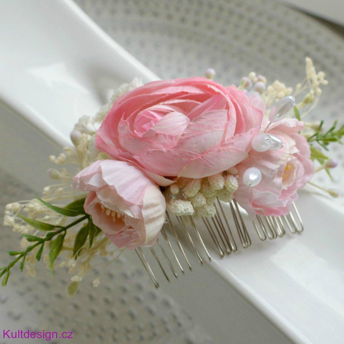 Svatební hřebínek do vlasů růžový 8db908b614